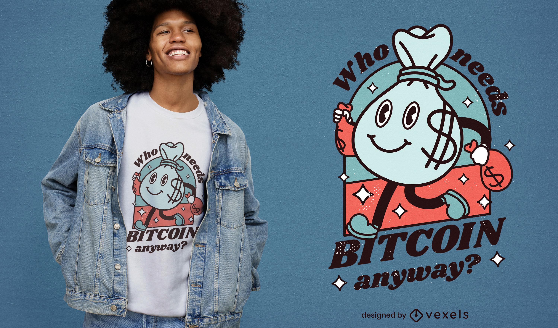 Design de t-shirt de bolsa de dinheiro Bitcoin