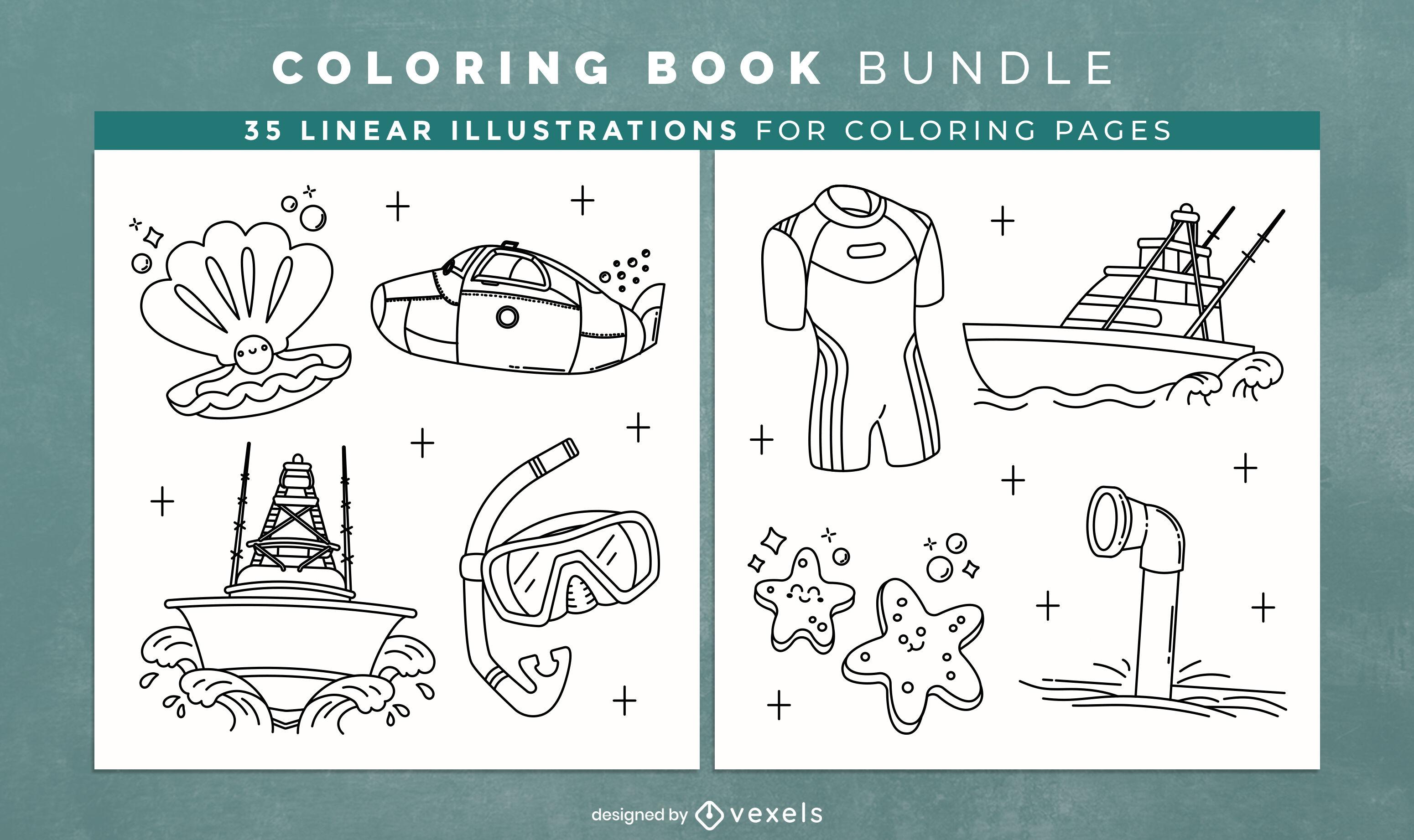 Nautical coloring book KDP interior design