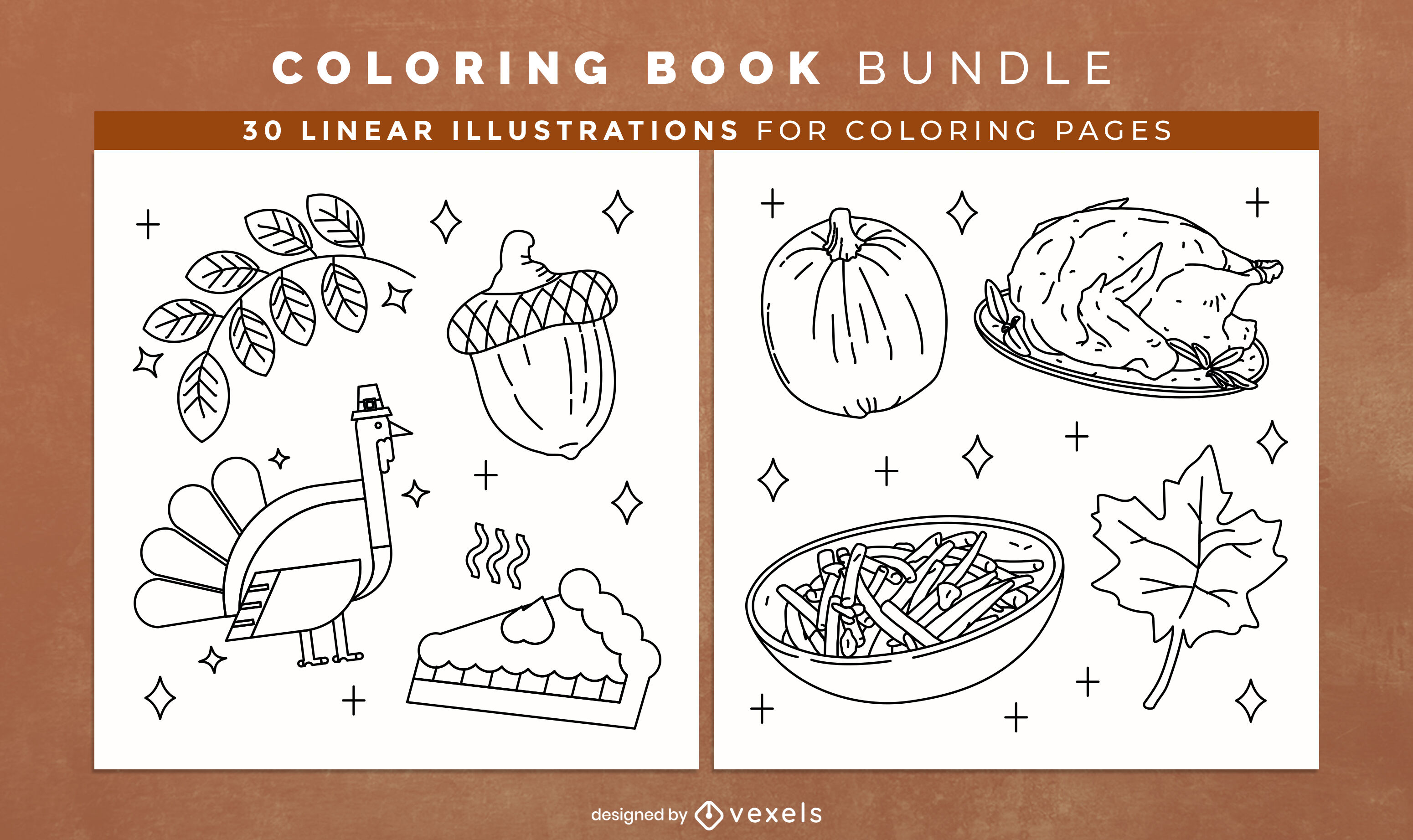 Páginas de diseño de libro para colorear de acción de gracias
