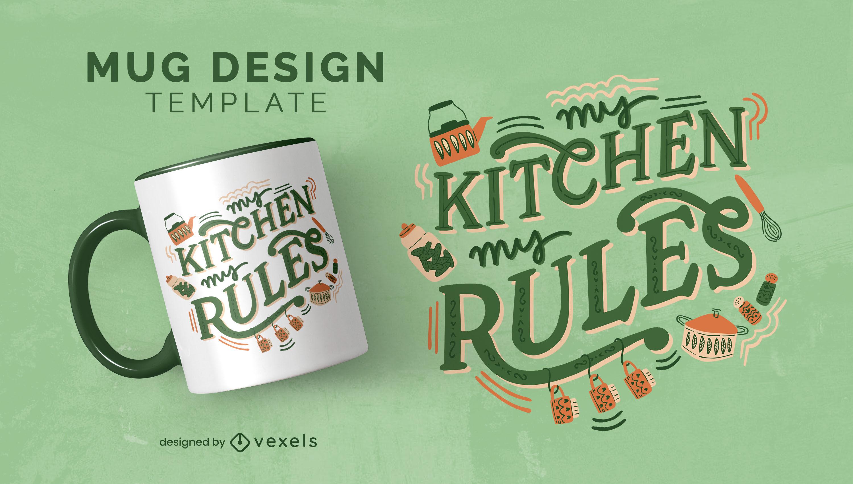 Regras de cozinha: design de caneca para passatempo