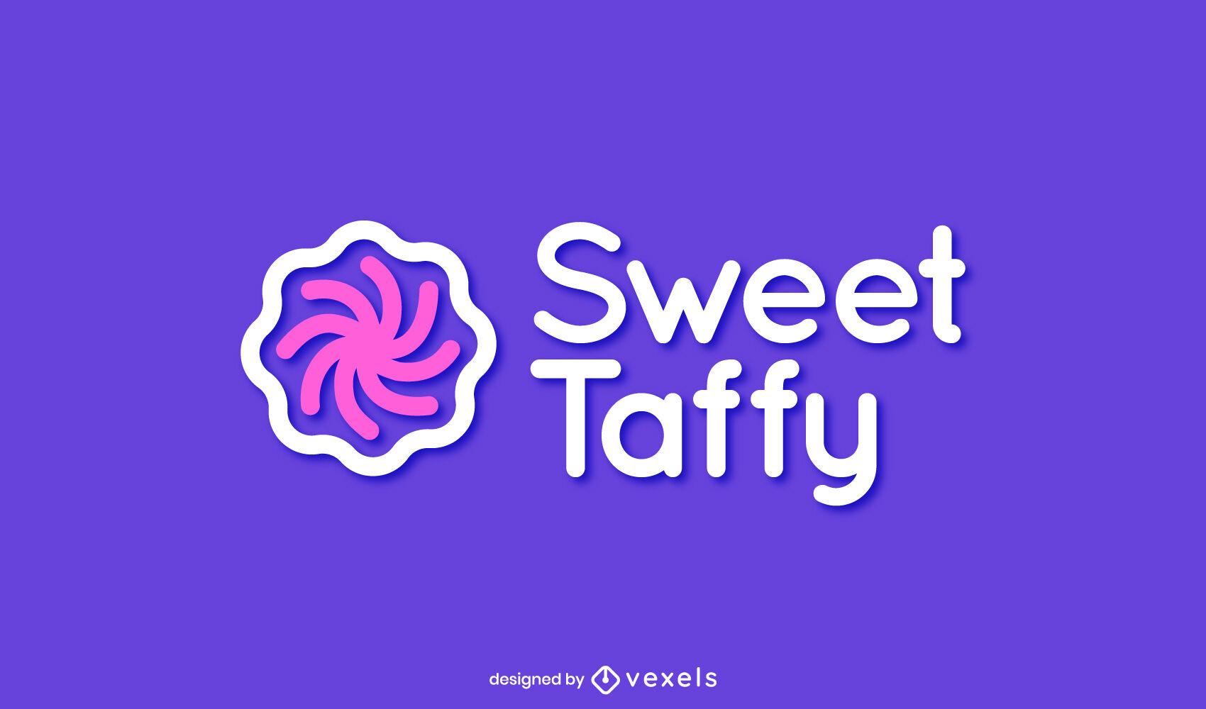 Plantilla de logotipo de comida dulce de caramelo en espiral