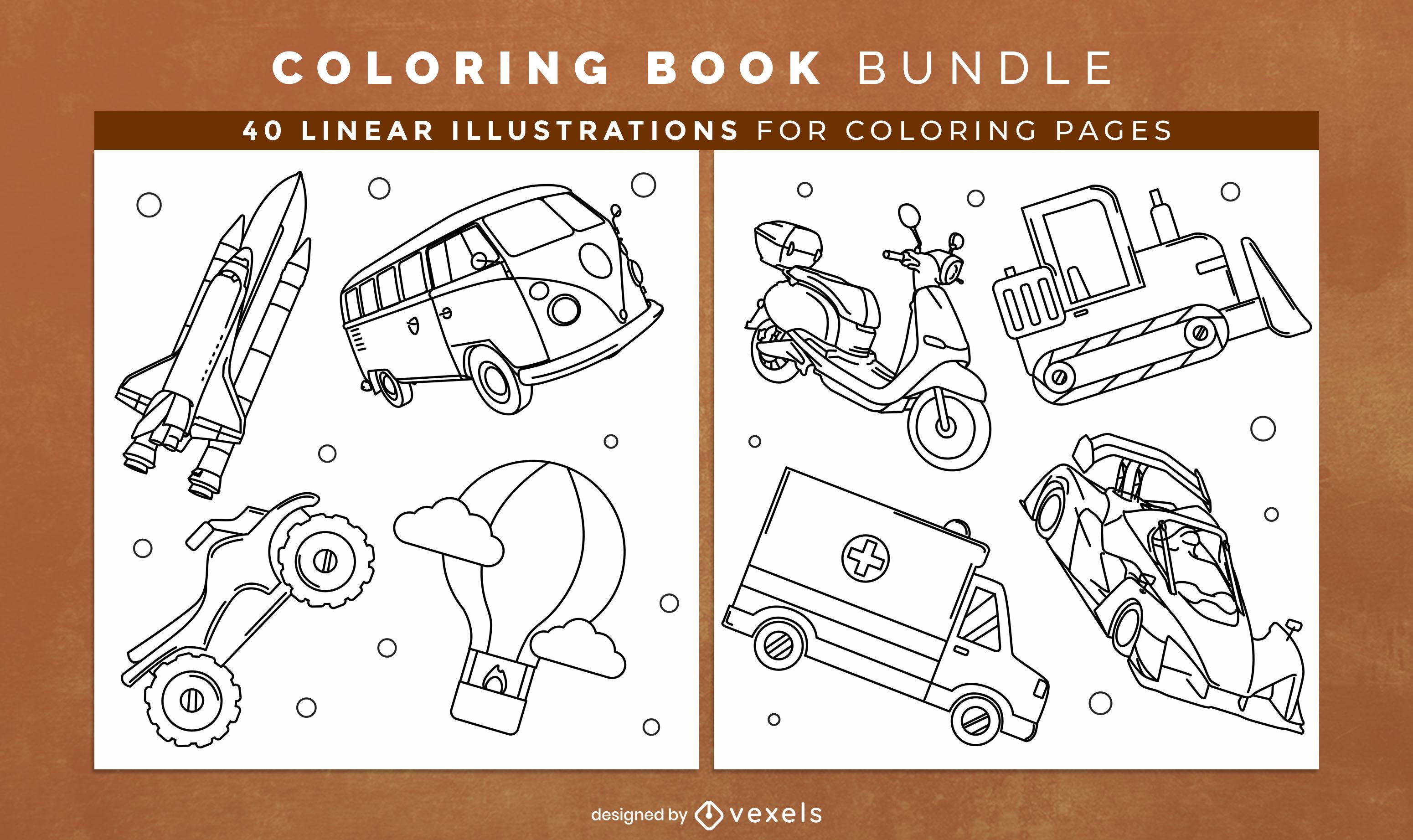 Diseño de páginas de libro para colorear de transporte