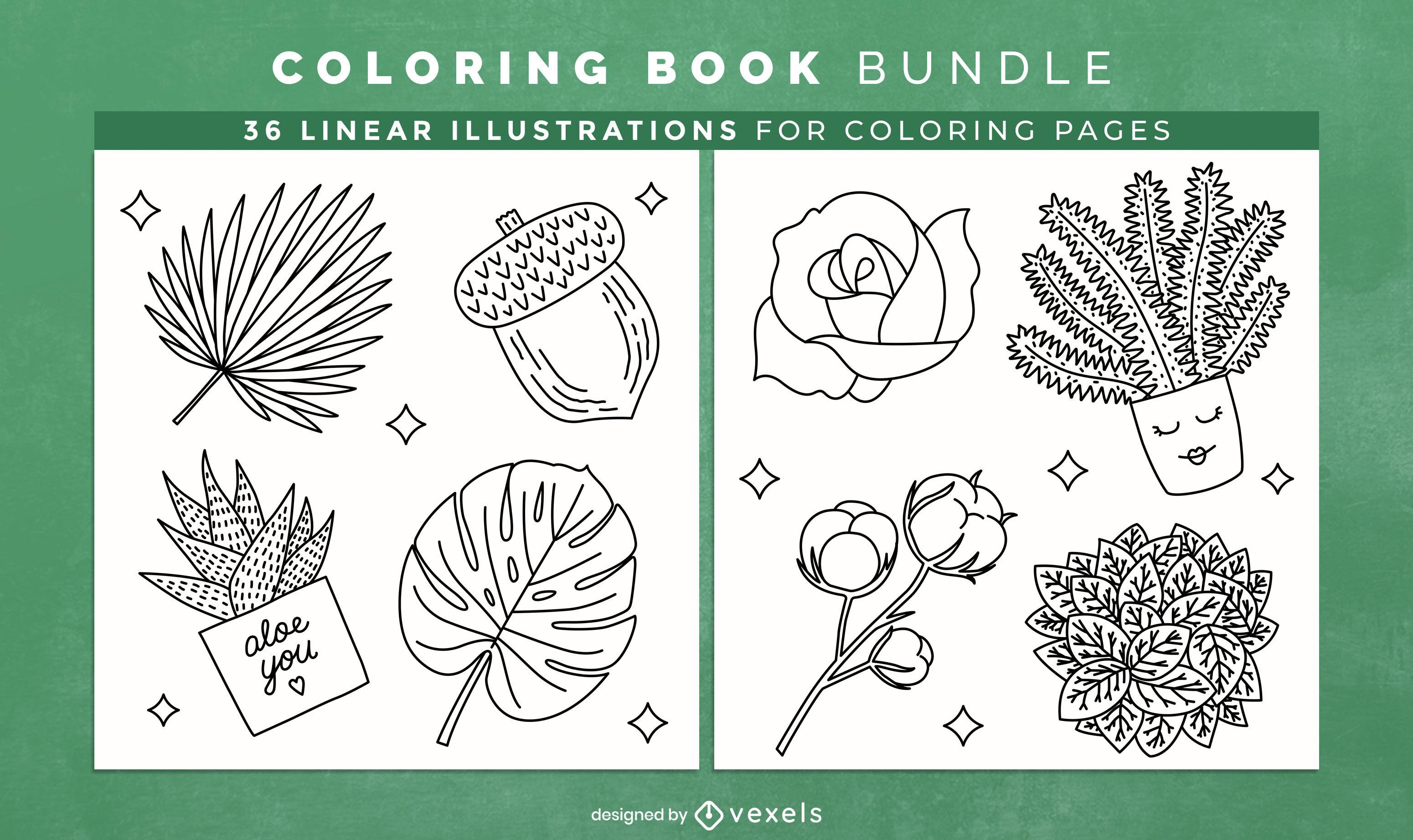 Leaves coloring book KDP interior design