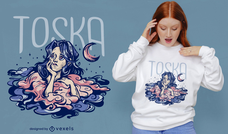 Diseño de camiseta de mujer tristeza nubes