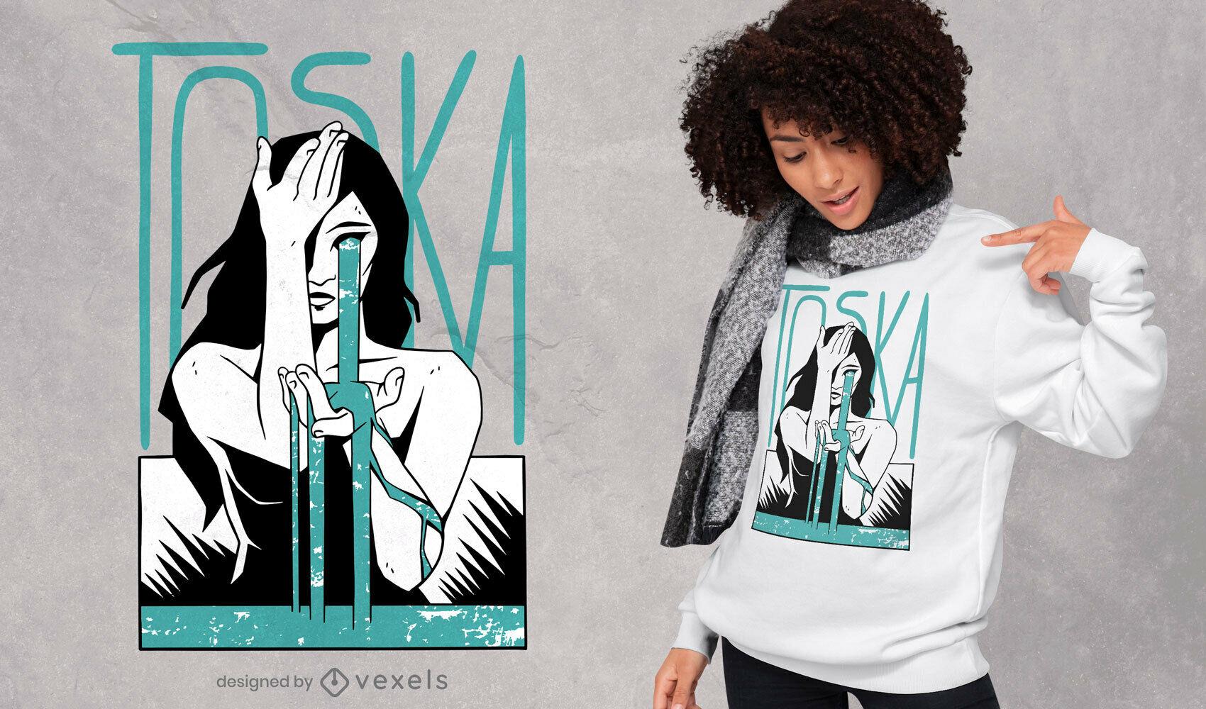 Diseño de camiseta melancólica de lágrimas de mujer.