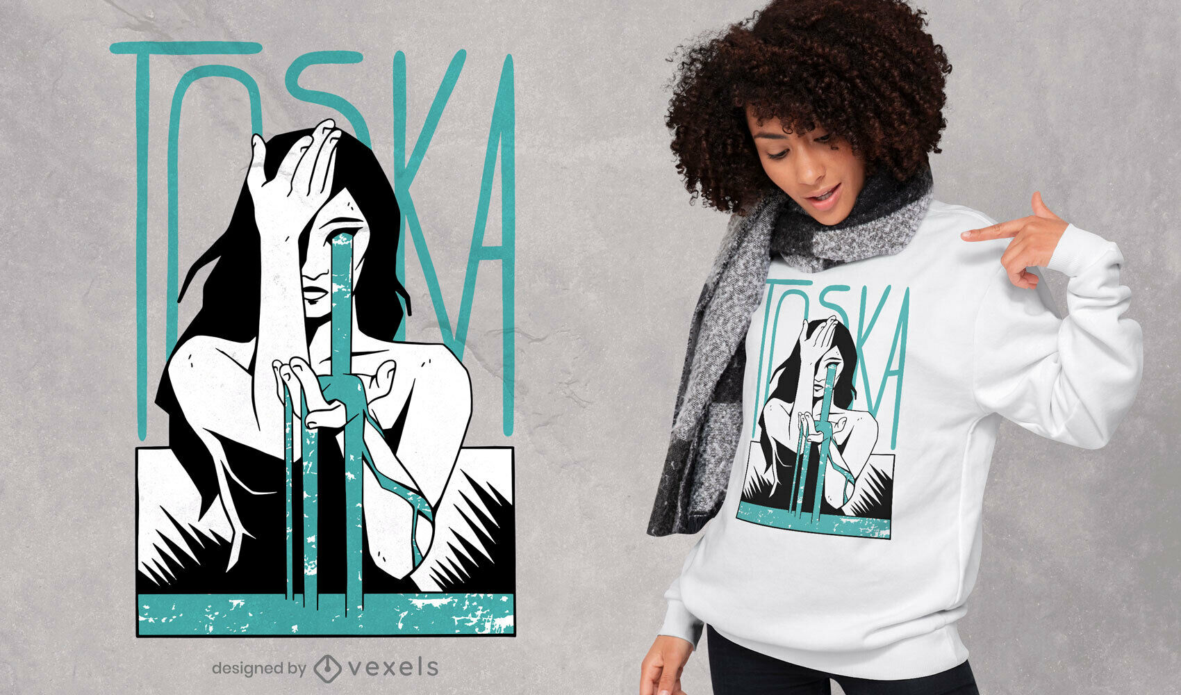 Woman tears melancholy t-shirt design
