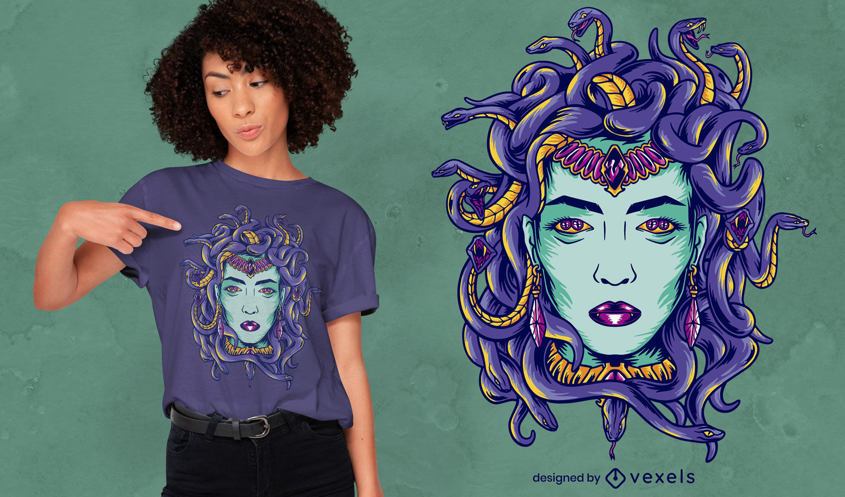 Dise?o de camiseta de monstruo mitol?gico de Medusa.