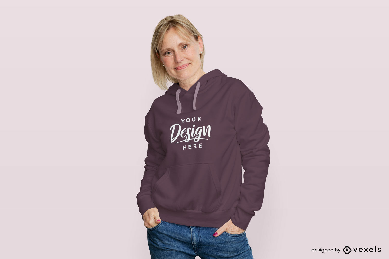 Woman in purple hoodie flat background mockup