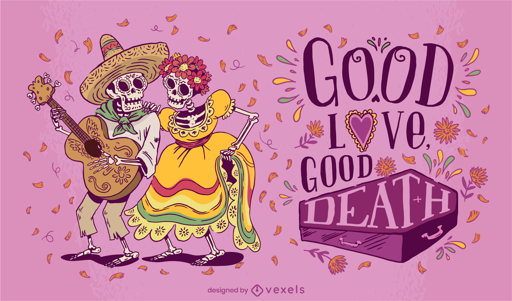 Day of the dead skeleton couple illustration