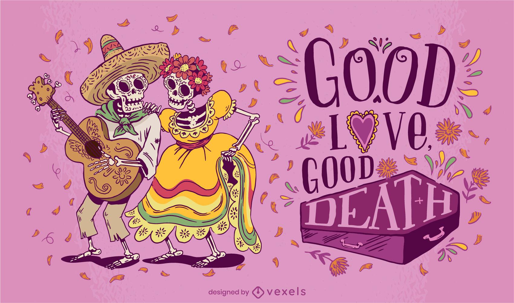 Ilustração do casal esqueleto do dia dos mortos