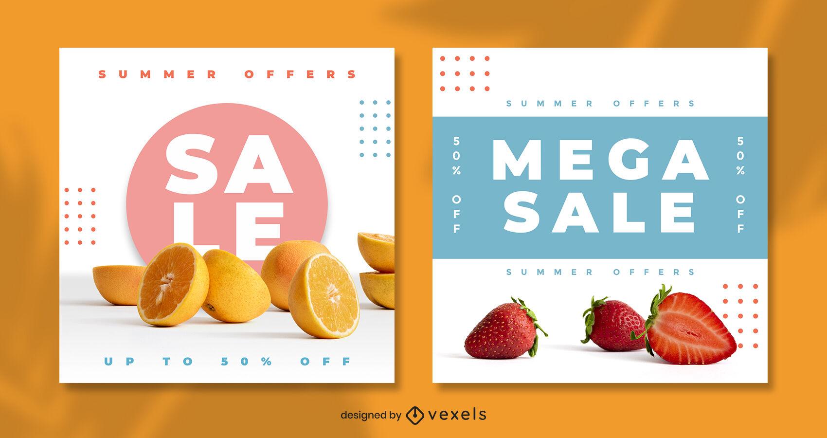 Plantilla de publicación de instagram de frutas coloridas