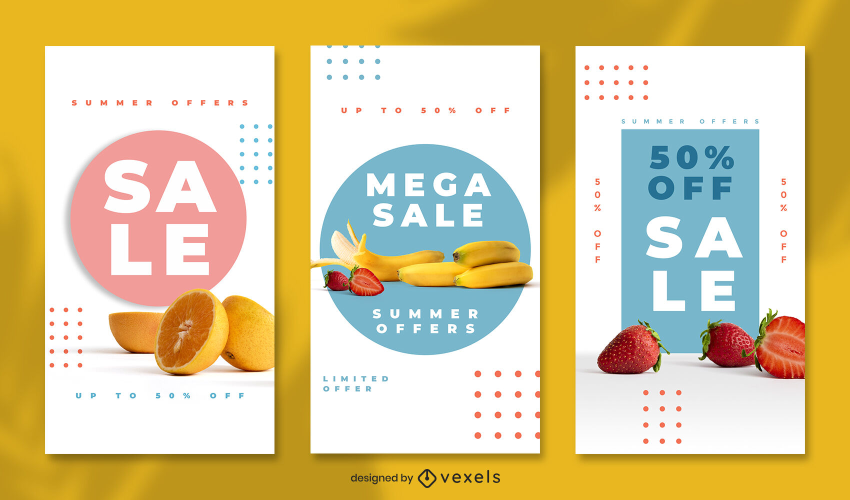Colorful fruits instagram story template