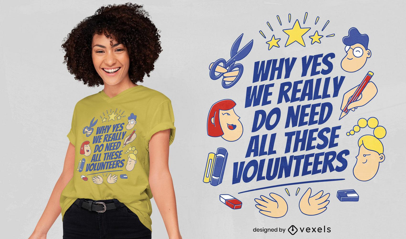 Diseño de camiseta de gente voluntaria feliz