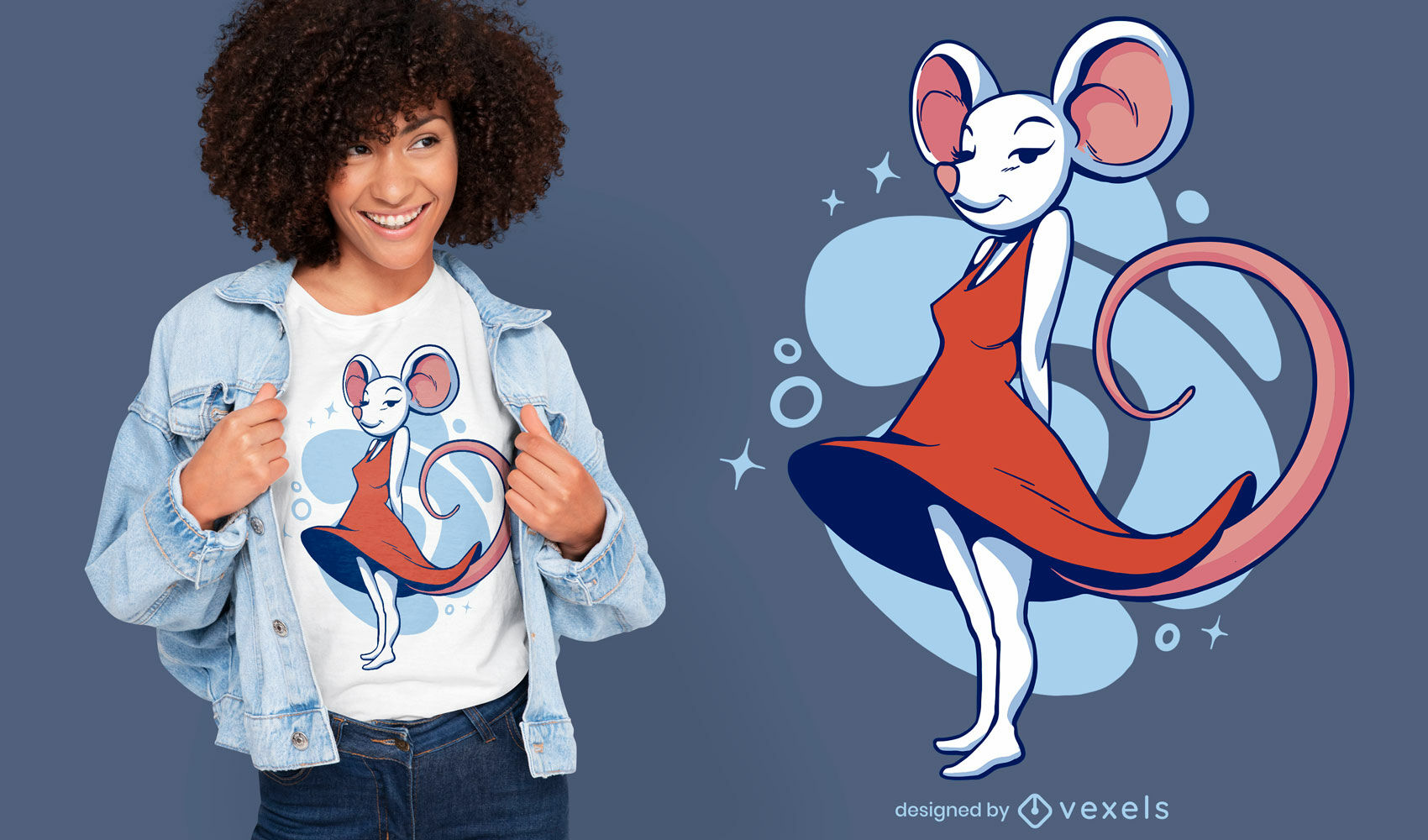 Female mouse in dress cartoon t-shirt design