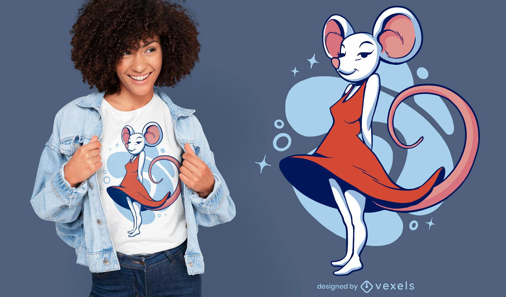 Rato feminino com vestido de desenho animado de camiseta
