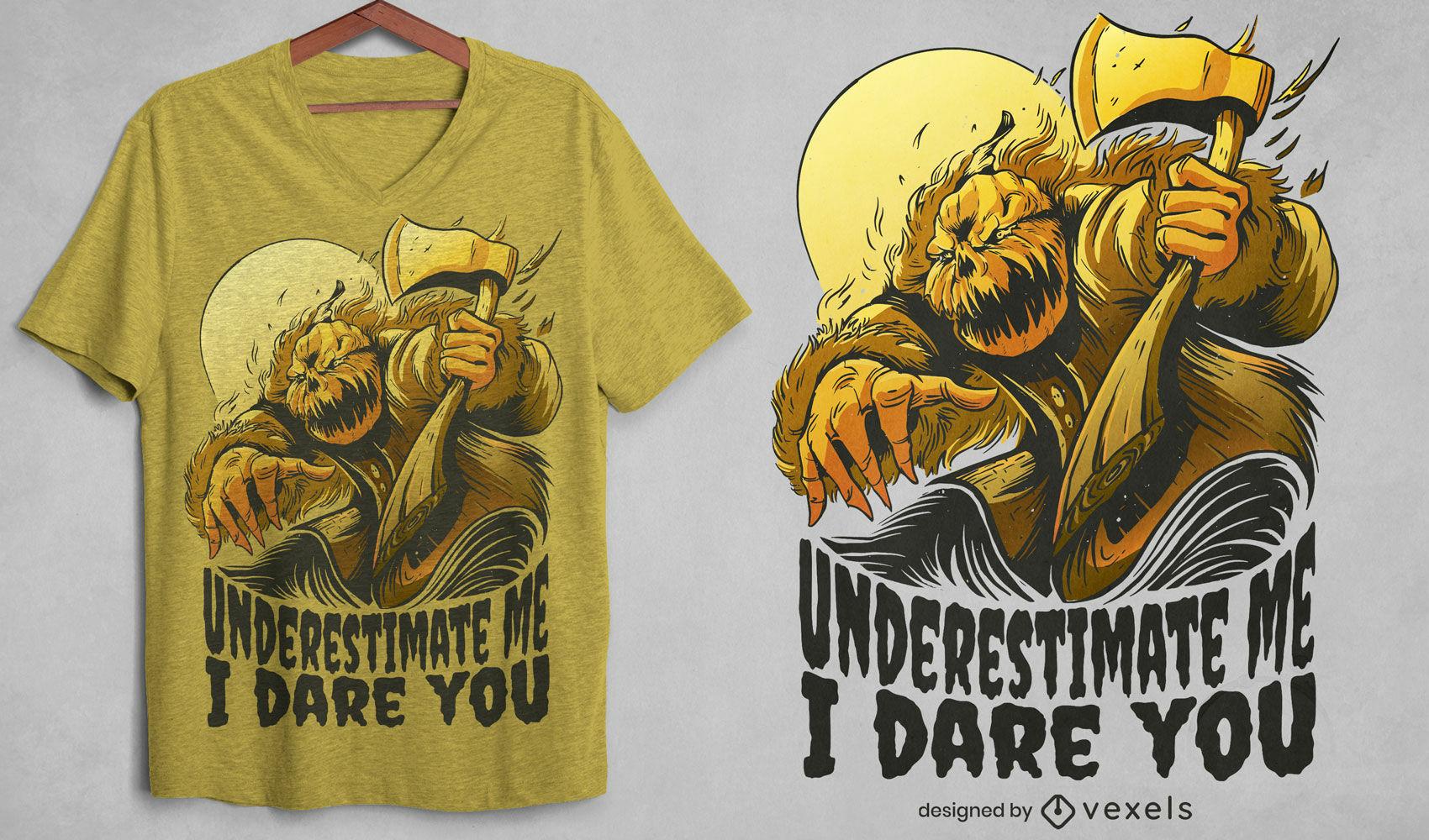 Pumpkin man with axe t-shirt design