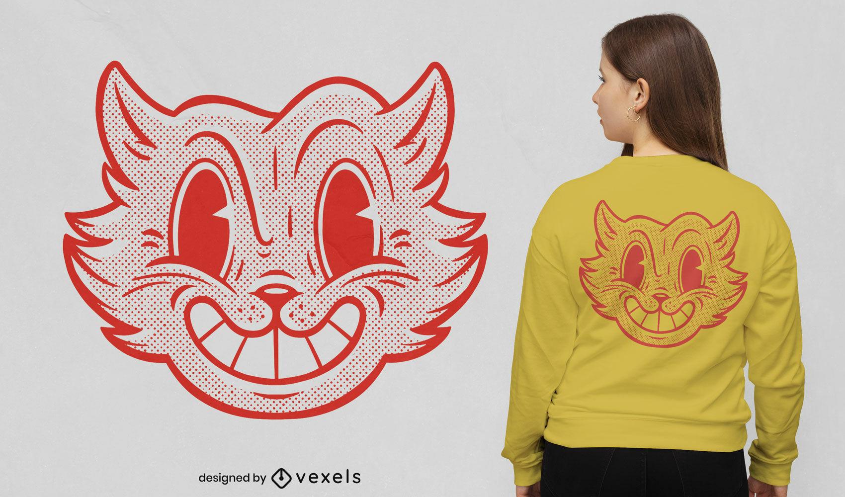 Desenho retro de t-shirt de gato em meio-tom