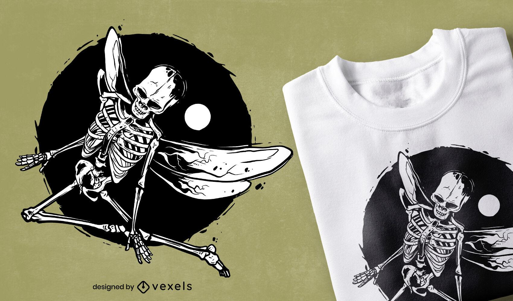 Design de camiseta grunge com esqueleto alado