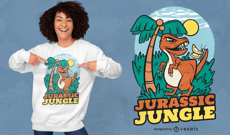 Design de camiseta da selva jurássica