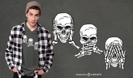 Design de t-shirt com três crânios sábios
