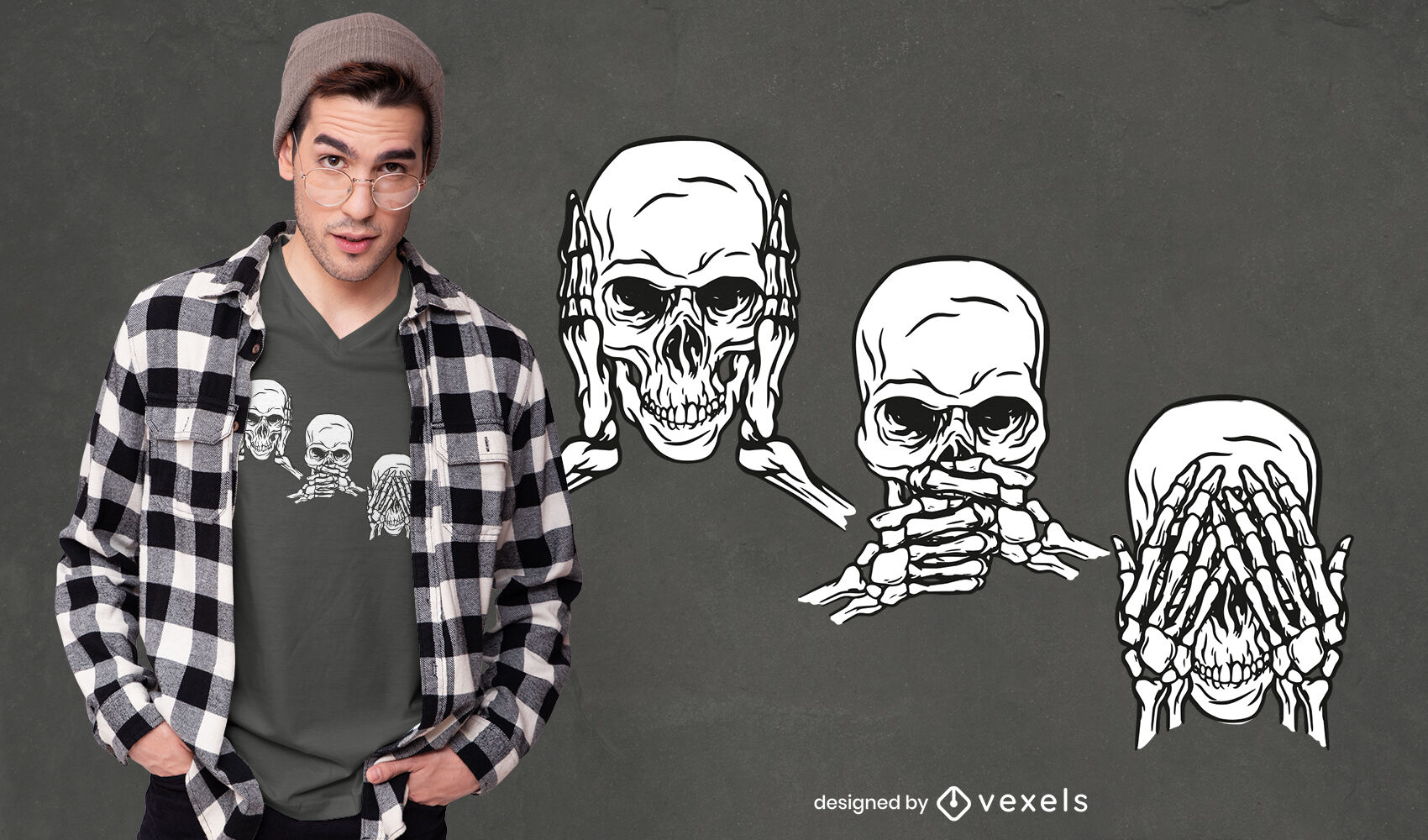 T-Shirt-Design mit drei weisen Totenköpfen