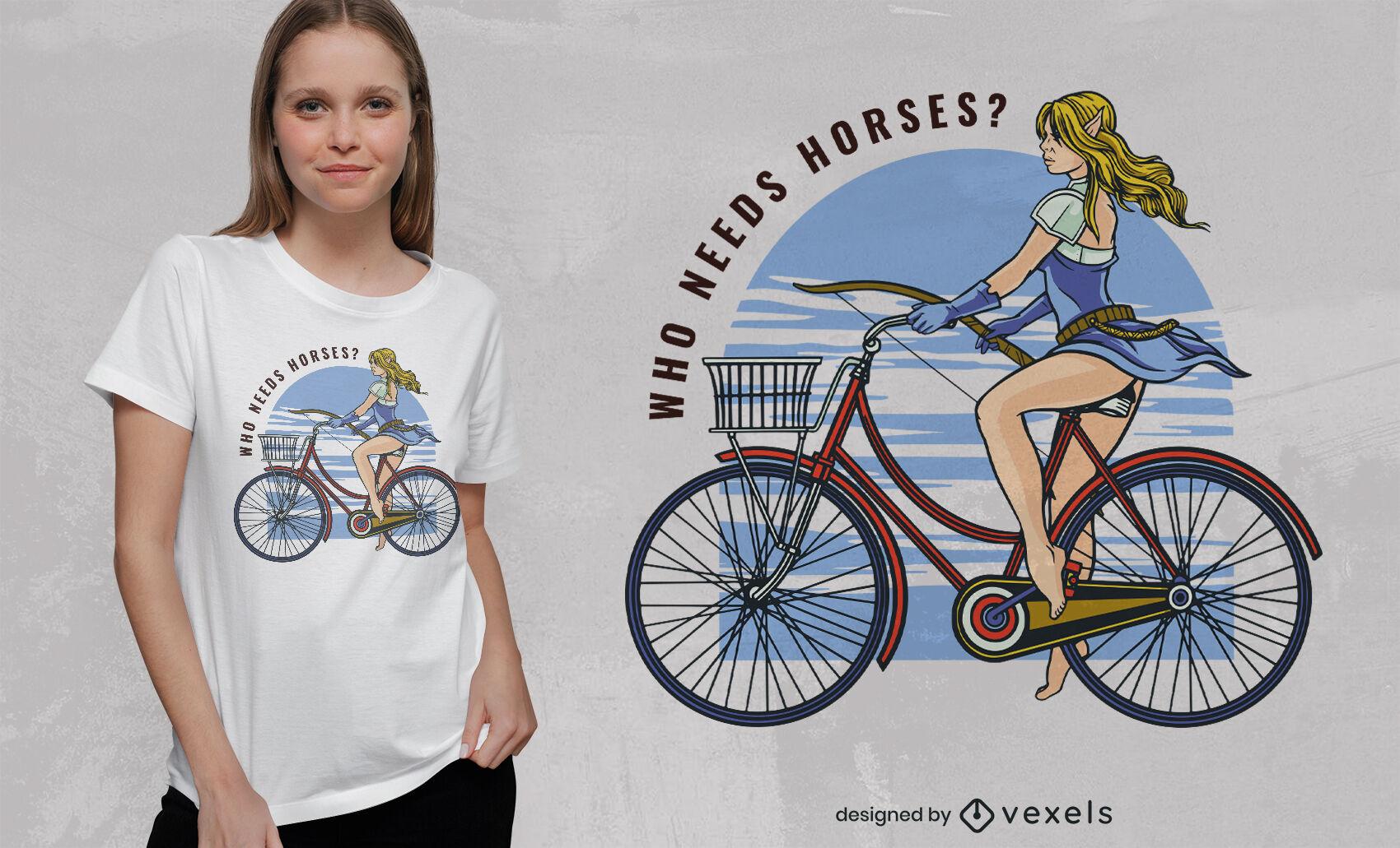 Design de camiseta elfa andando de bicicleta