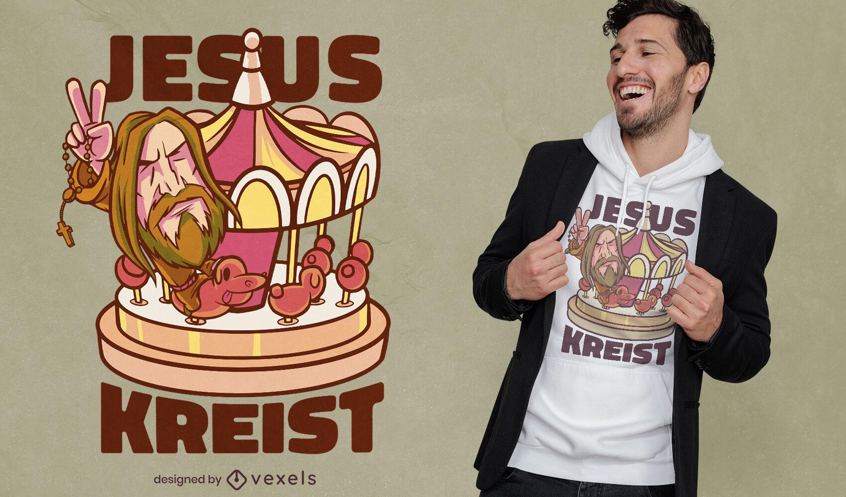 Desenho animado de Jesus no desenho de uma camiseta carrossel