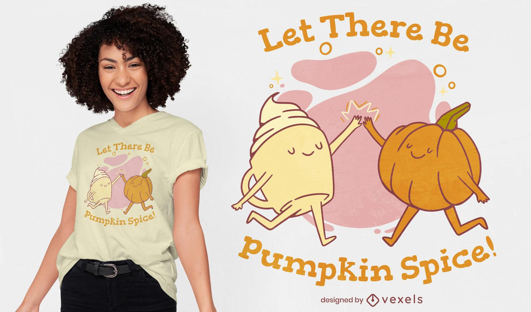 Design fofo de t-shirt de especiarias de abóbora