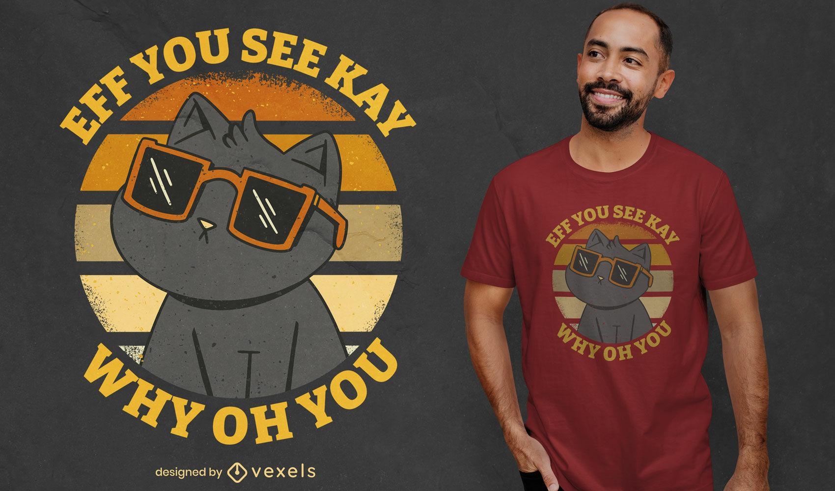 Diseño de camiseta de dibujos animados de gato en gafas de sol