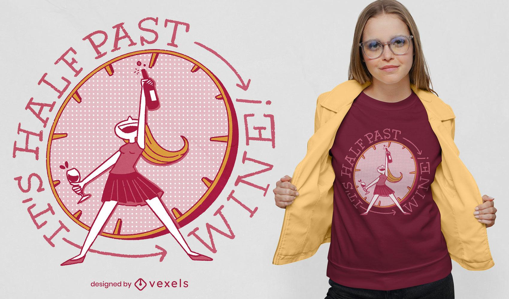 Design de t-shirt psd de tempo de bebida de vinho