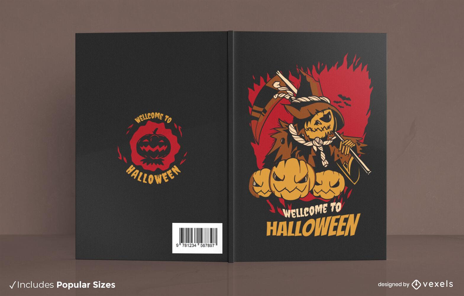 Diseño de portada de libro de halloween de jack o lantern