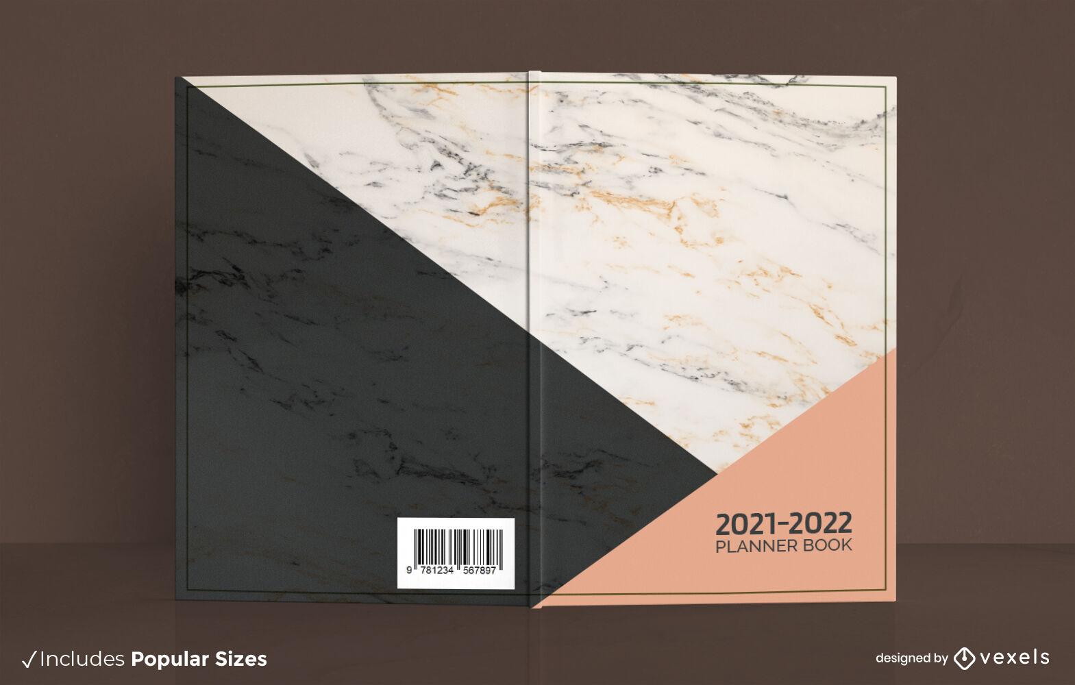 Diseño de portada de planificador de textura de mármol minimalista