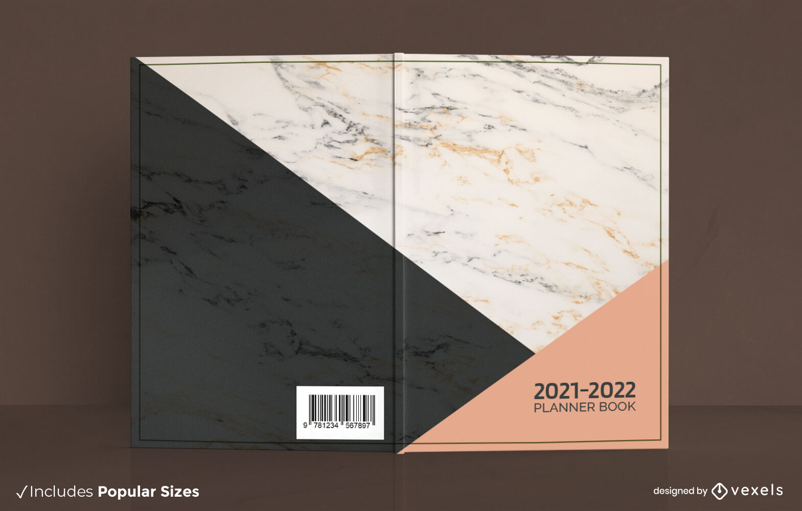 Minimalist marble texture planner cover design