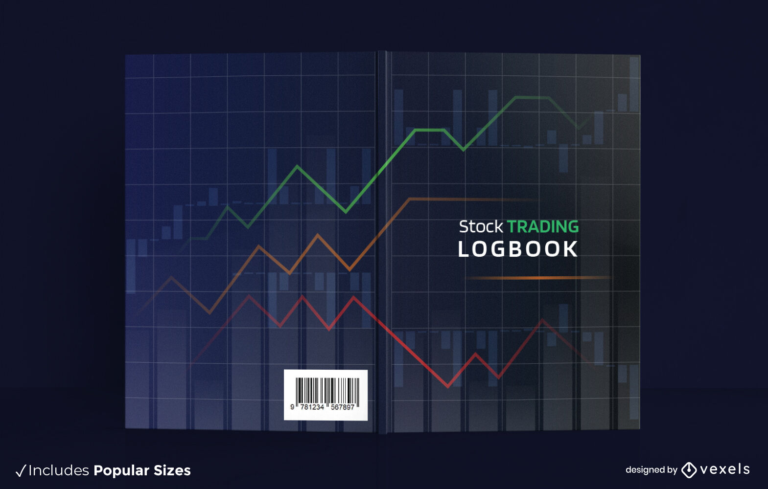 Digital graph line book cover design