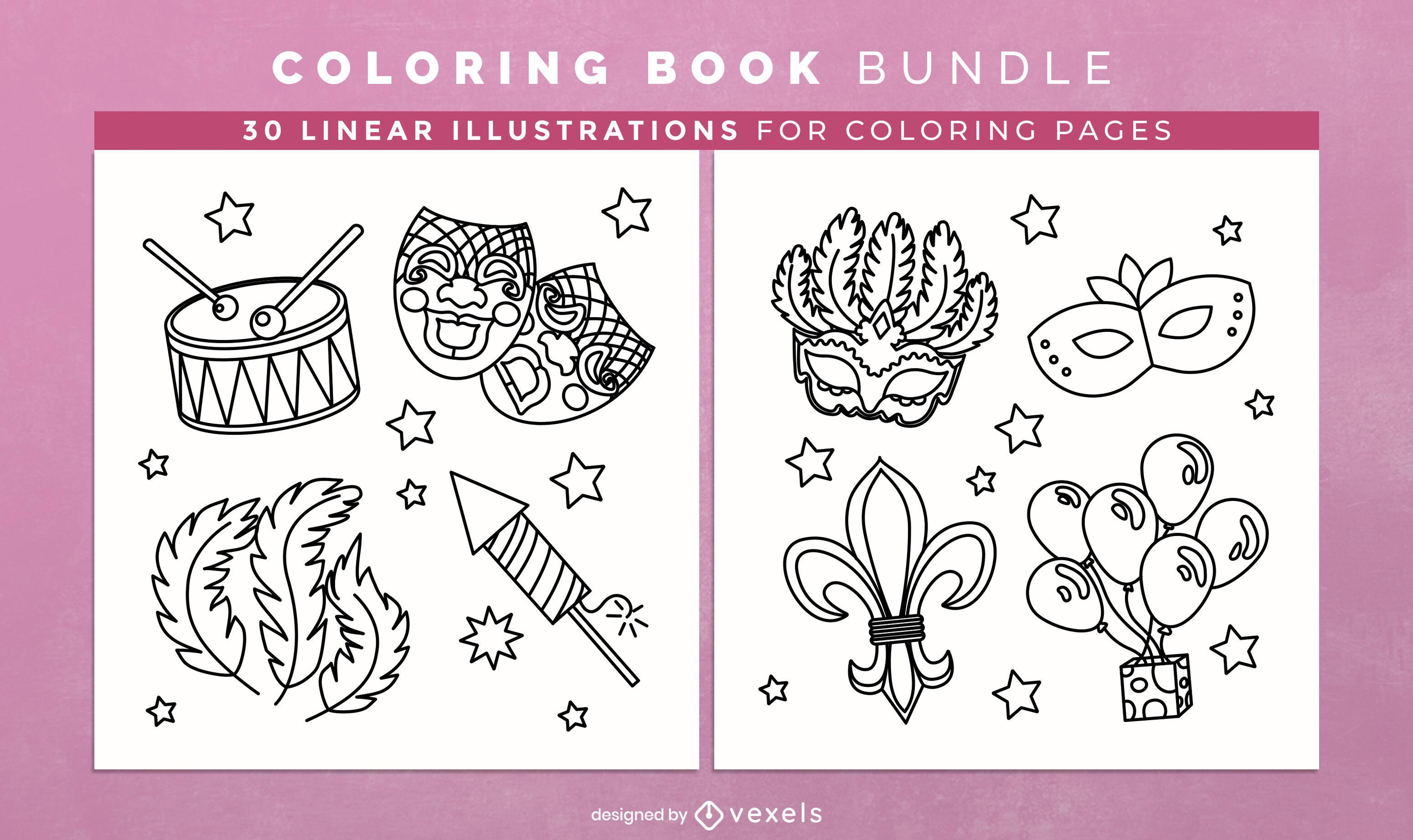 Elementos de carnaval para colorear páginas de diseño de libros