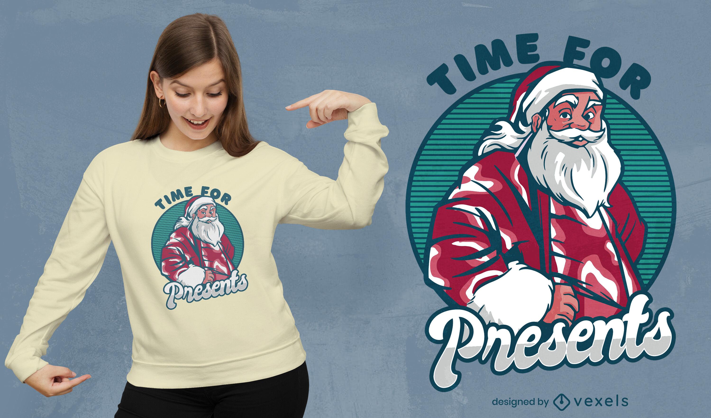 Design de t-shirt de presentes de Natal para o Pai Natal