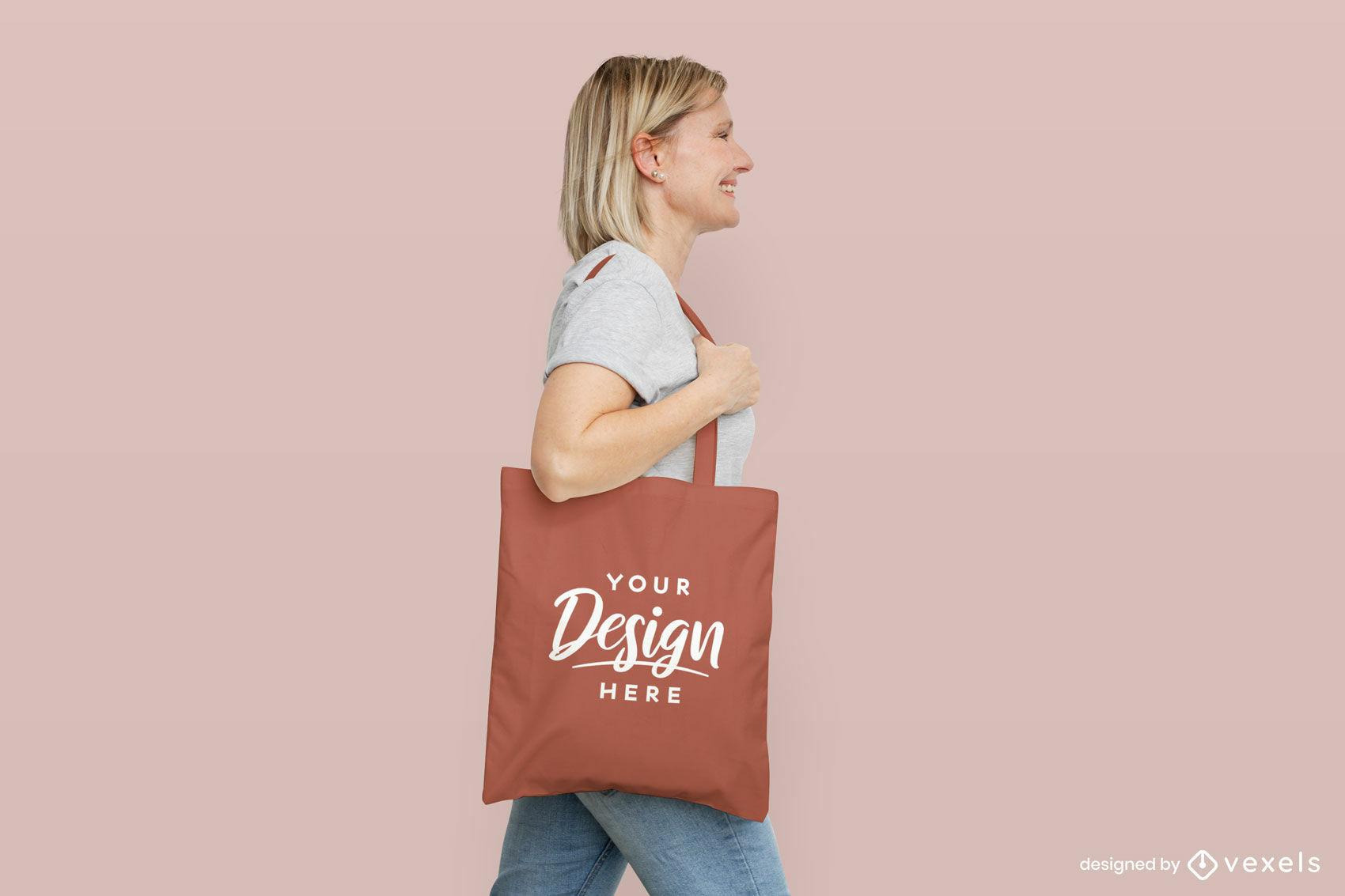 Woman with orange tote bag flat background mockup