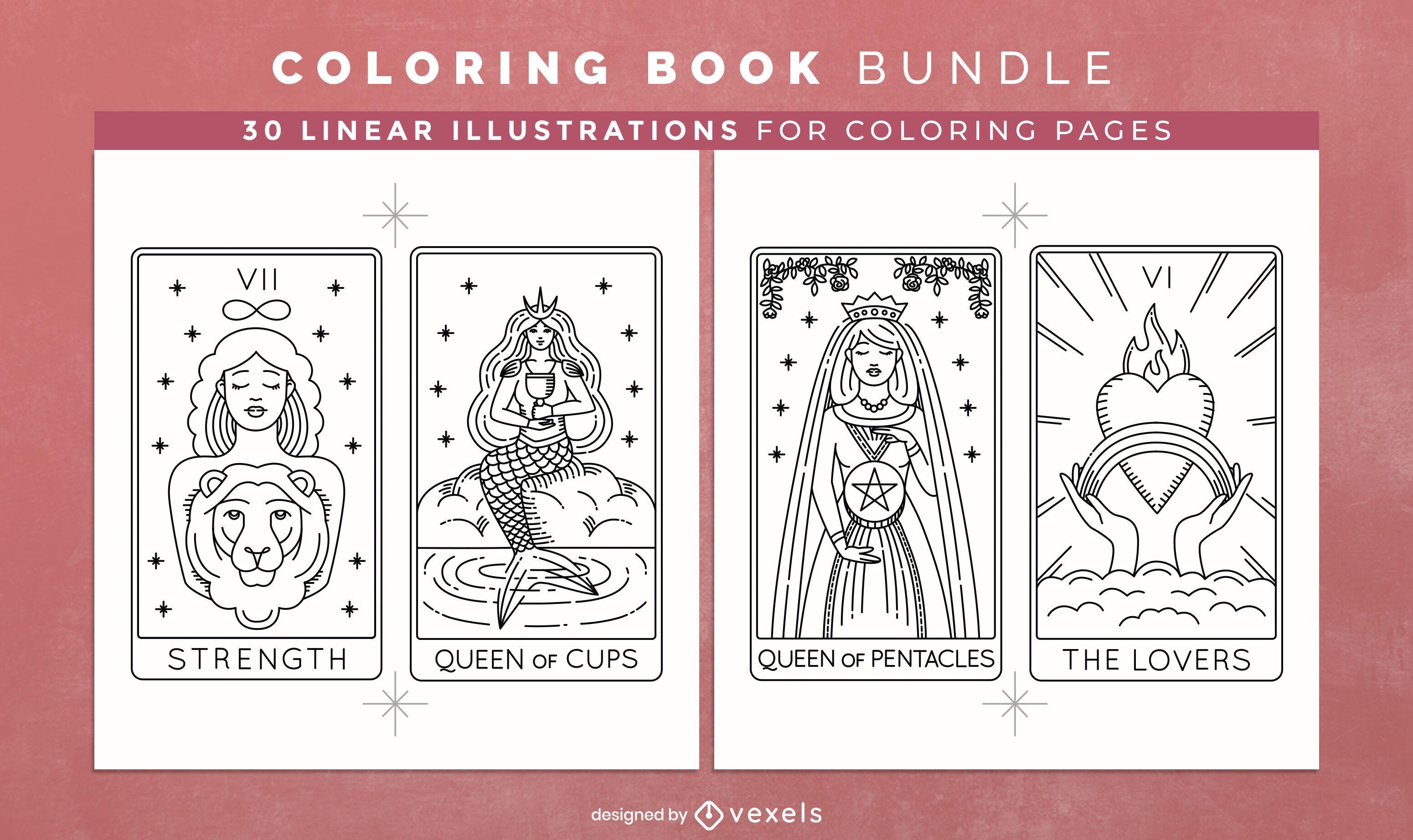 Livro de colorir tarô KDP design de interiores