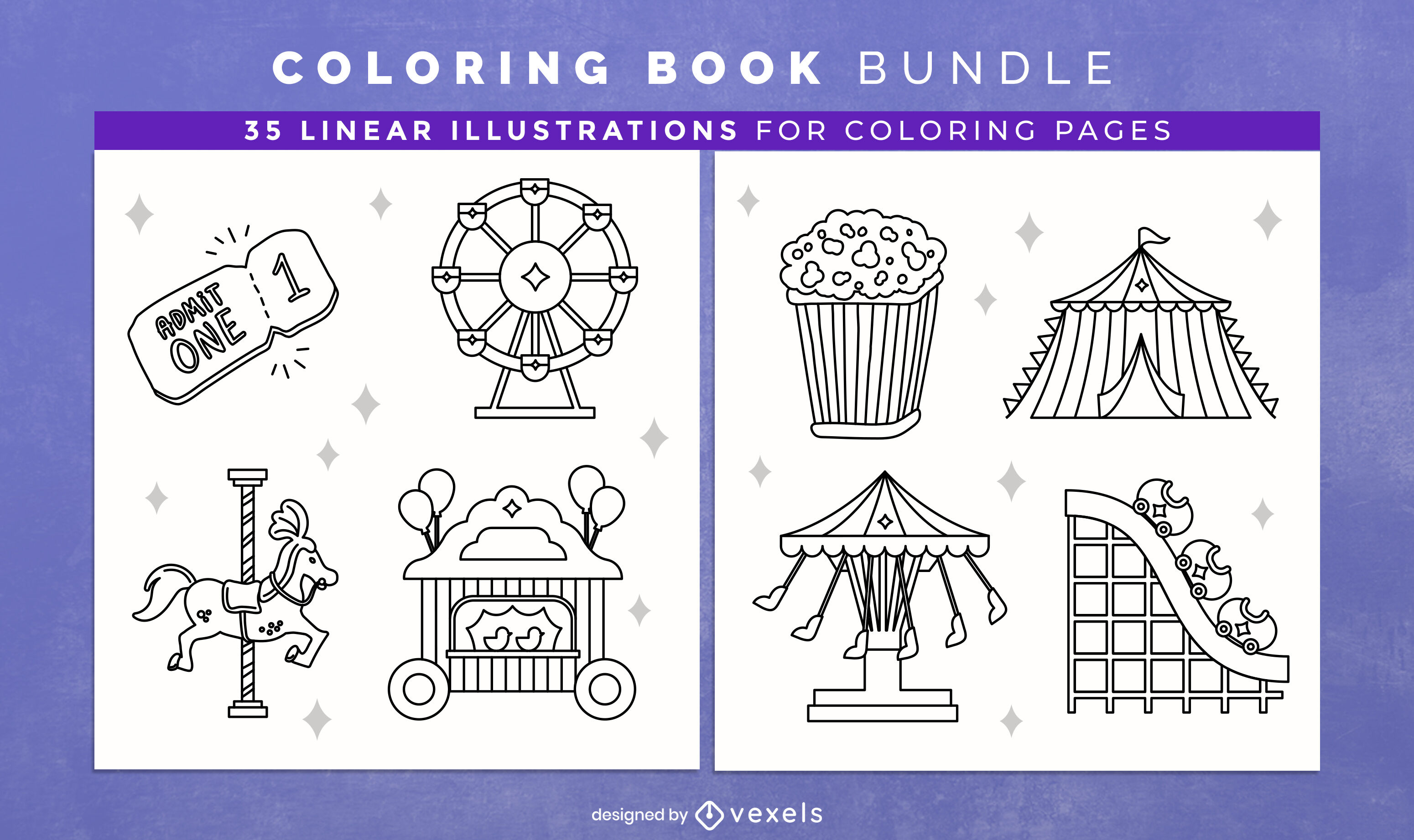 Carnival rides coloring book design pages