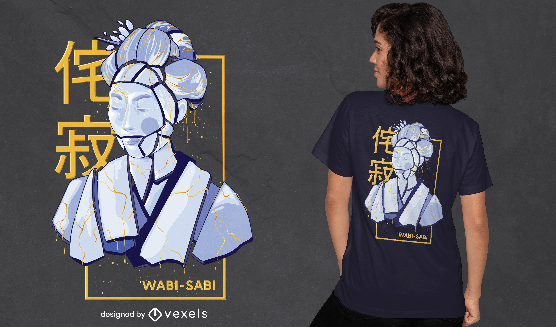 Excelente design de t-shirt wabi sabi
