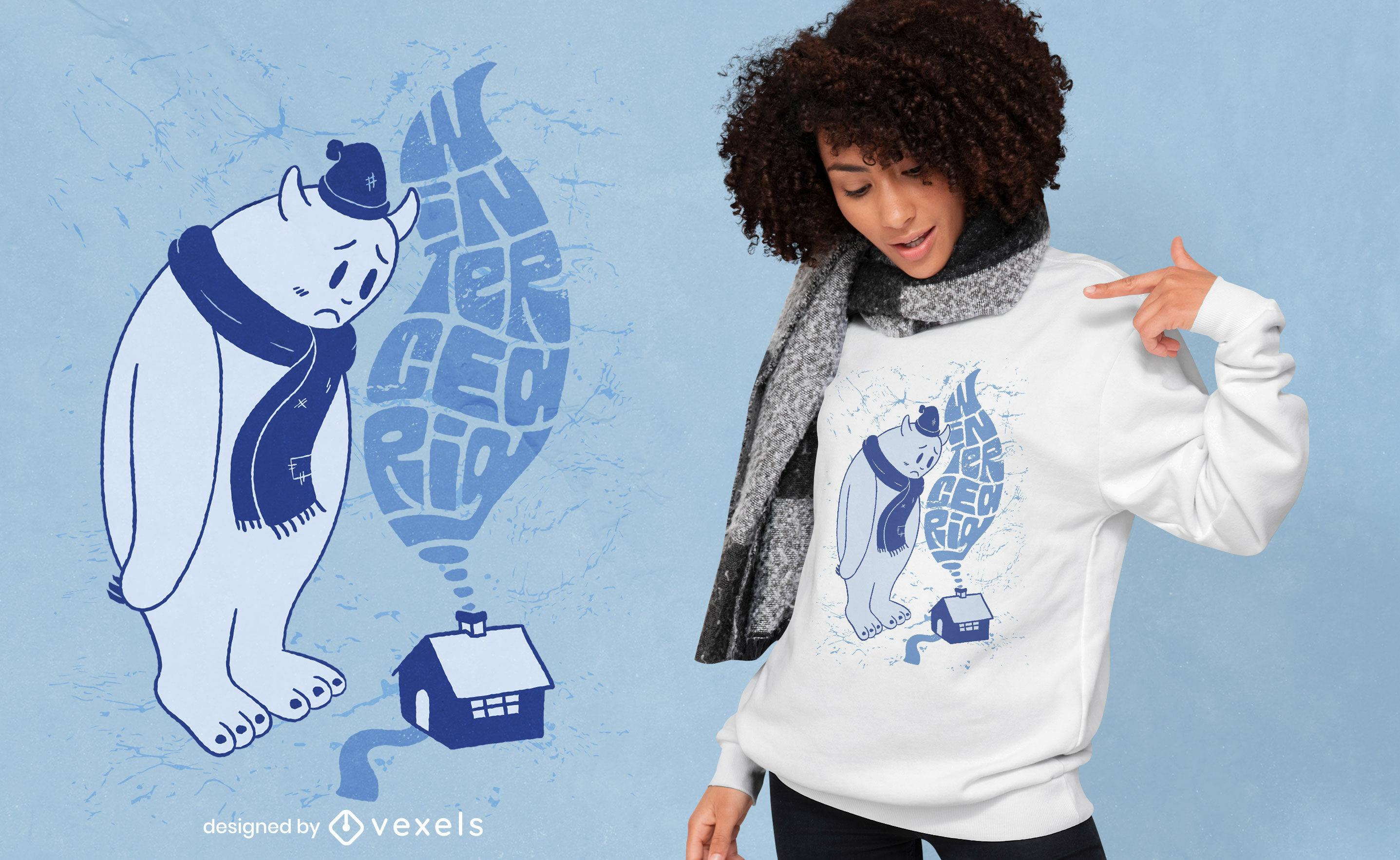 Design de camiseta Yeti wintercearig