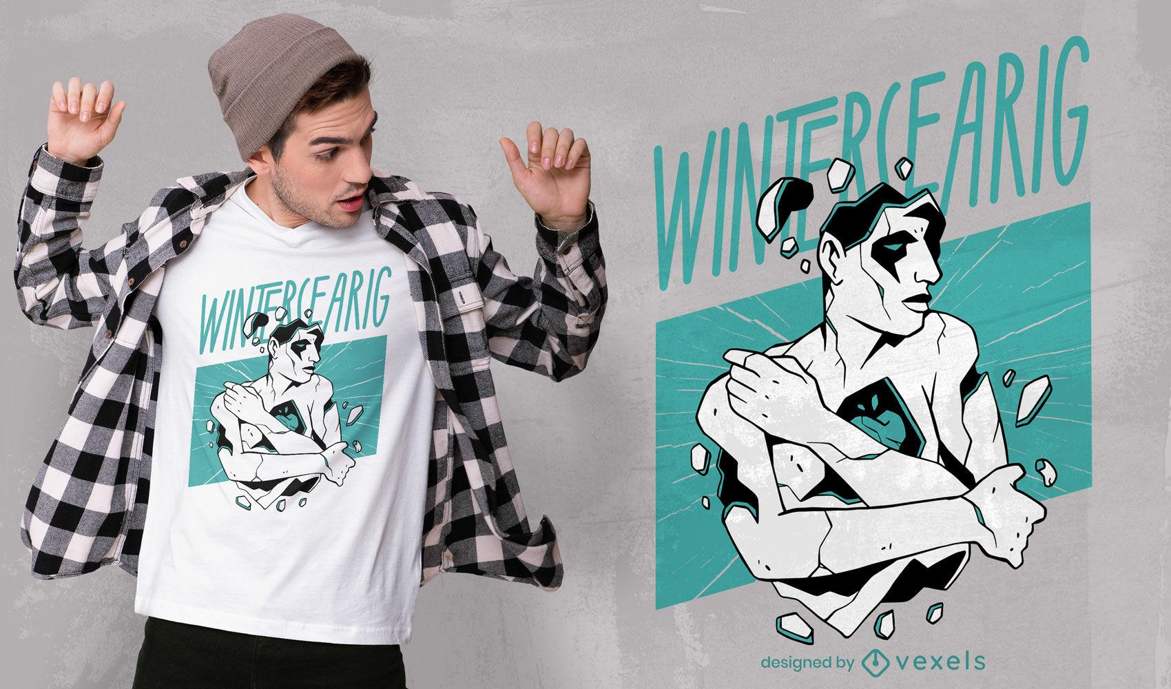 Broken man winter t-shirt design