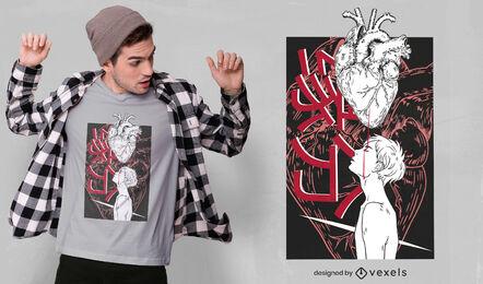 Diseño de camiseta de corazón chino Yuanfen