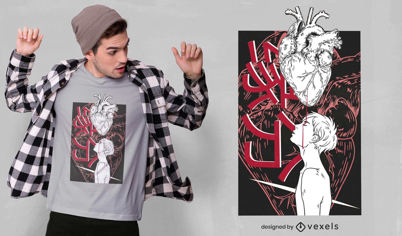 Design de t-shirt com coração chinês Yuanfen