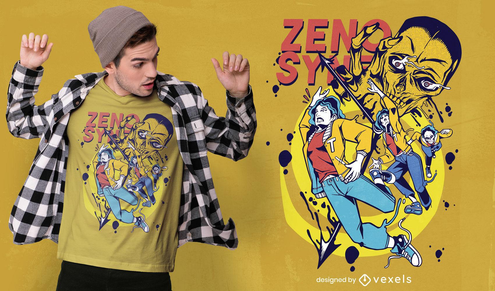 Design de camiseta com quadrinhos zenosyne time