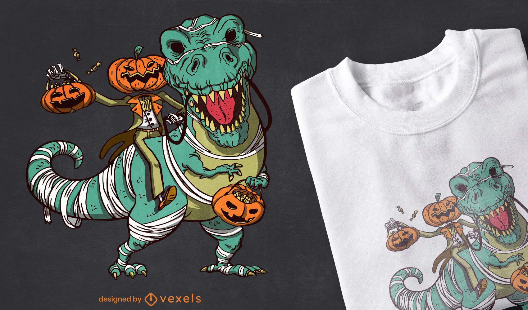 Dise?o de camiseta de Halloween Jack O 'Lantern y t-rex