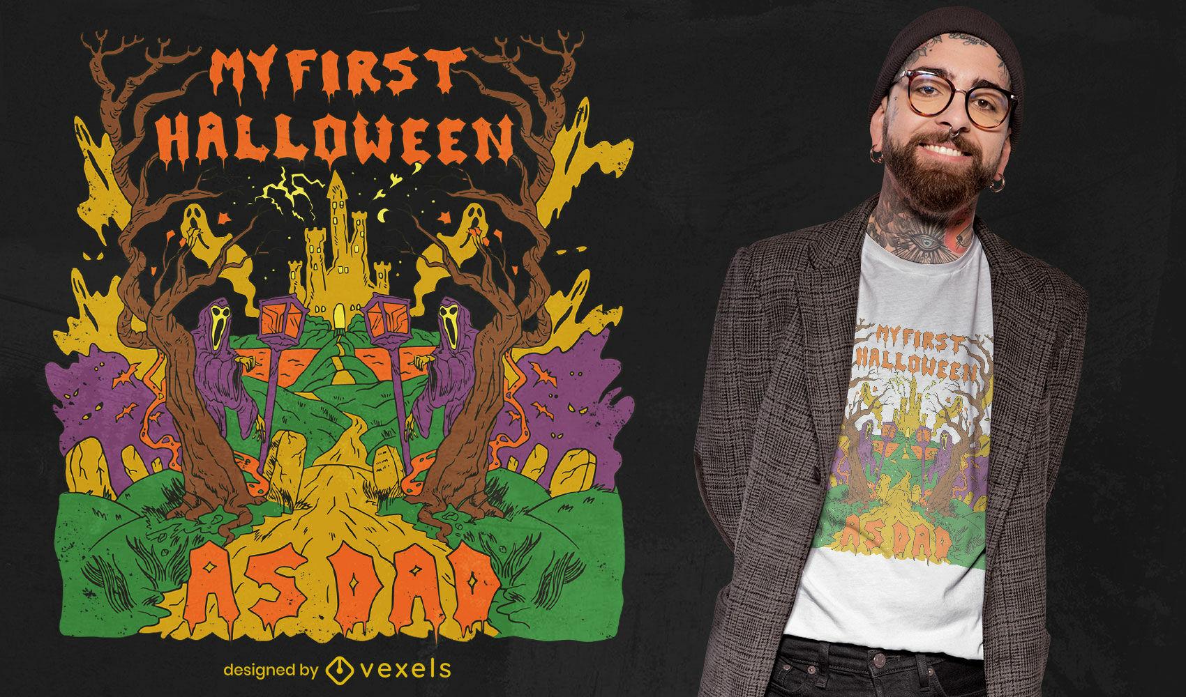 Dise?o de camiseta de halloween de primer pap?