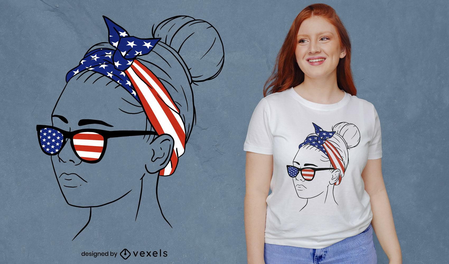 Design de t-shirt feminina com bandana com bandeira americana
