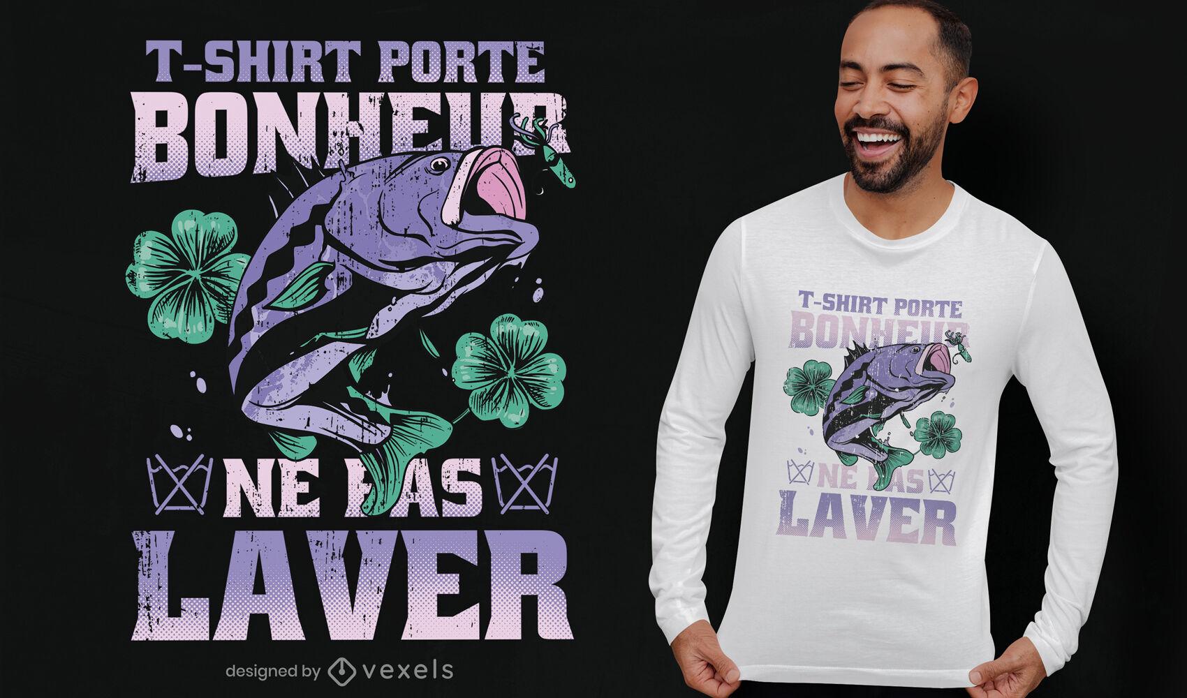 Diseño de camiseta de pesca de la suerte.