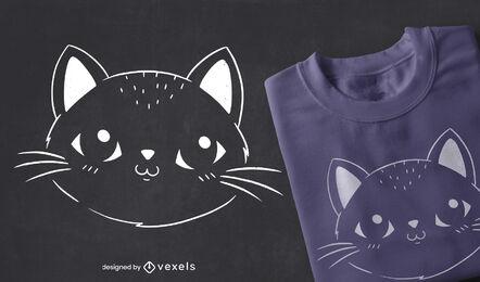 Diseño de camiseta de trazo lleno de gato lindo